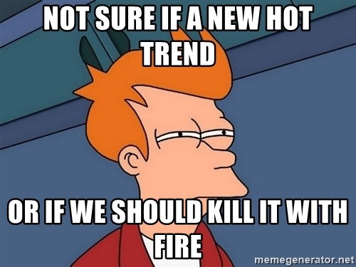 Futurama Fry - Not sure if a new hot trend Or if we should kill it with fire