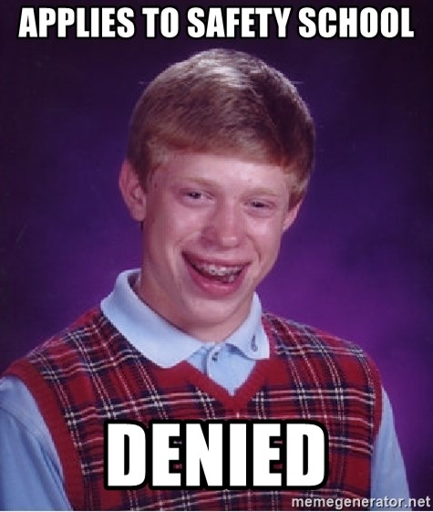 Bad Luck Brian - applies to safety school denied
