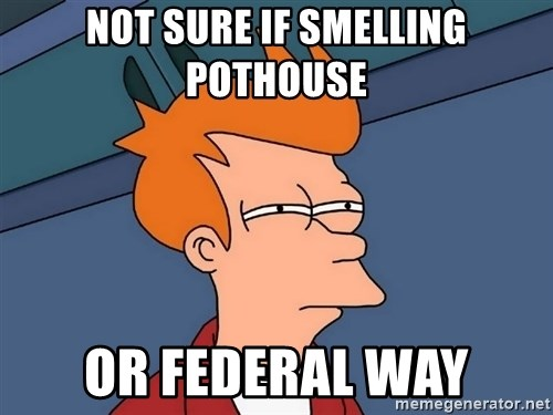 Futurama Fry - Not sure if smelling pothouse or federal way