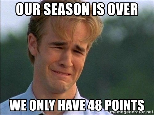 Crying Man - OUr season is over we only have 48 points