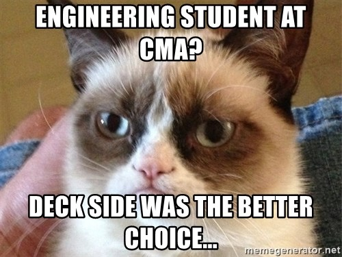 Angry Cat Meme - Engineering student at cma? deck side was the better choice...