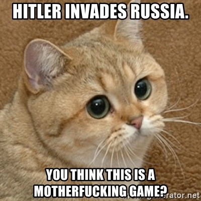 motherfucking game cat - Hitler Invades Russia. You think this is a motherfucking game?