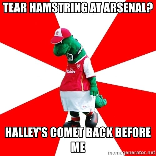 Arsenal Dinosaur - tear hamstring at arsenal? halley's comet back before me