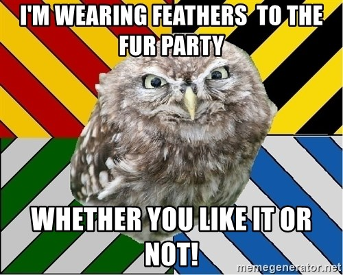 JEALOUS POTTEROMAN - I'm wearing feathers  to the fur Party Whether you like it or not!