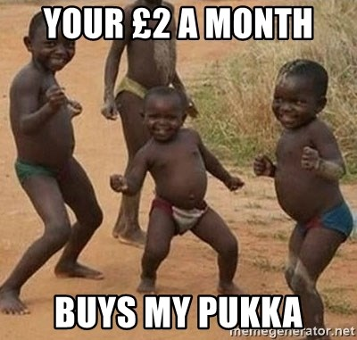 Dancing African Kid - your £2 a month  buys my pukka