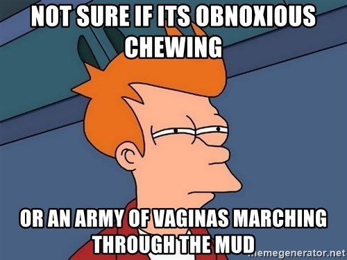 Futurama Fry - Not sure if its obnoxious chewing or an army of vaginas marching through the mud