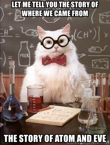 Chemistry Cat - Let me tell you the story of where we came from The story of Atom and Eve