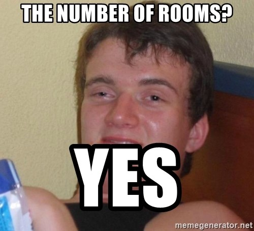 high/drunk guy - The number of rooms? Yes