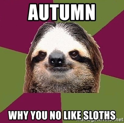 Just-Lazy-Sloth - Autumn  Why you no like sloths