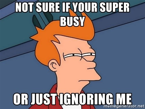 Futurama Fry - Not sure if your super busy Or just ignoring me