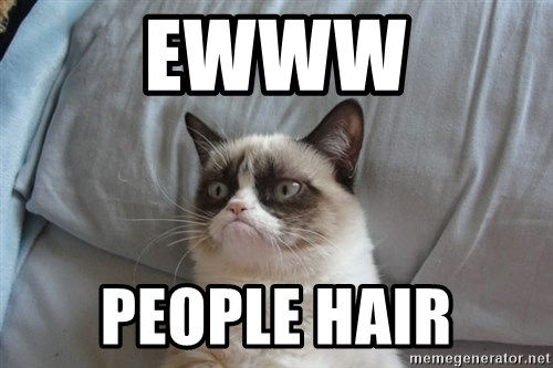 Grumpy cat good - ewww people hair