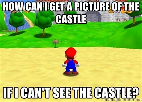 Mario looking at castle - How can i get a picture of the castle If i can't see the castle?