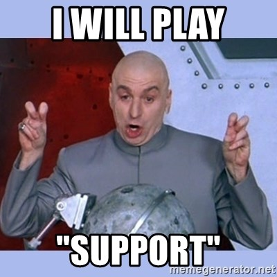 "Dr Evil meme - I will play ""support"""
