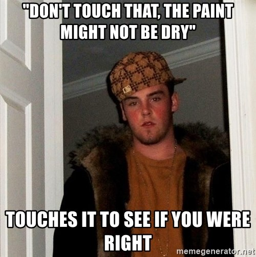 "Scumbag Steve - ""Don't touch that, the paint might not be dry"" Touches it to see if you were right"