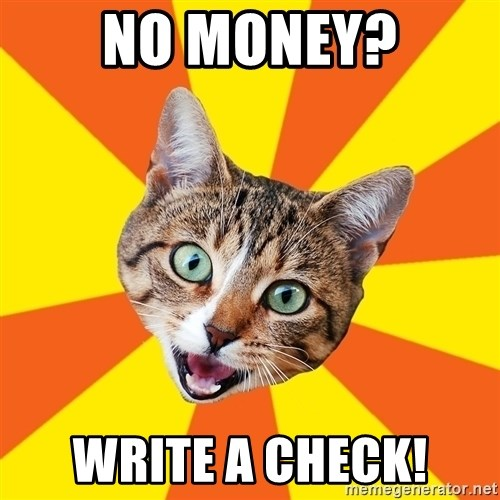 Bad Advice Cat - no money? Write a check!