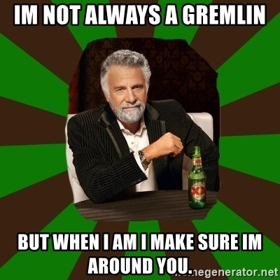 Beer guy - im not always a gremlin but when I am I make sure im around you.