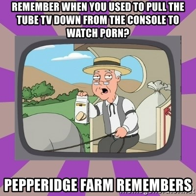 Pepperidge Farm Remembers FG - remember when you used to pull the tube tv down from the console to watch porn? pepperidge farm remembers