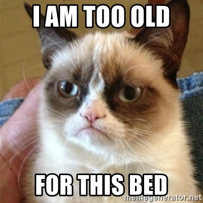 Grumpy Cat  - I AM TOO OLD  FOR THIS BED