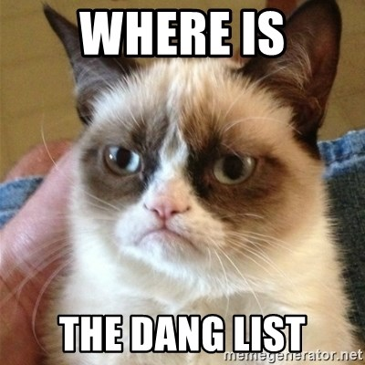 Grumpy Cat  - Where is The Dang List