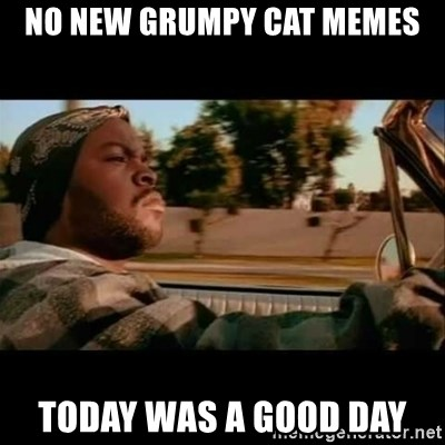 Ice Cube- Today was a Good day - no new grumpy cat memes today was a good day