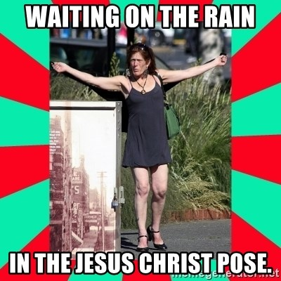 AMBER TROOCK DOWNTOWN EASTSIDE VANCOUVER - Waiting On The Rain IN THE JESUS CHRIST POSE.