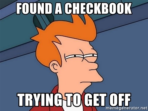 Futurama Fry - found a checkbook trying to get off