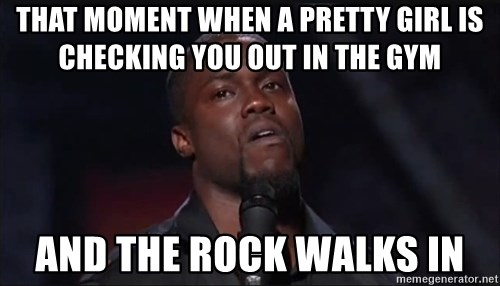 Kevin Hart Face - That moment when a pretty girl is checking you out in the gym and the rock walks in