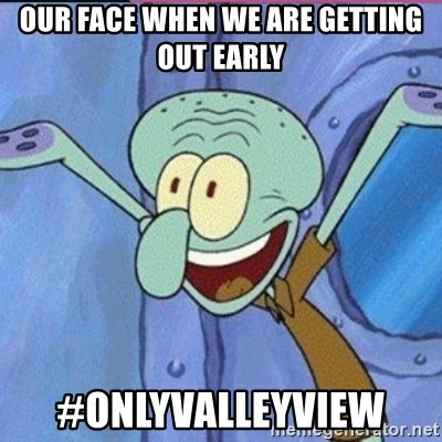 calamardo me vale - OUR FACE WHEN WE ARE GETTING OUT EARLY  #ONLYVALLEYVIEW