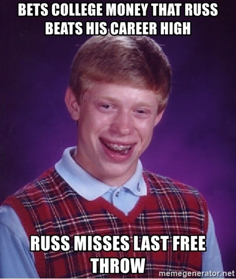 Bad Luck Brian - bets college money that russ beats his career high russ misses last free throw