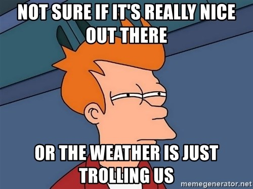 Futurama Fry - Not sure if it's really nice out there or the weather is just trolling us