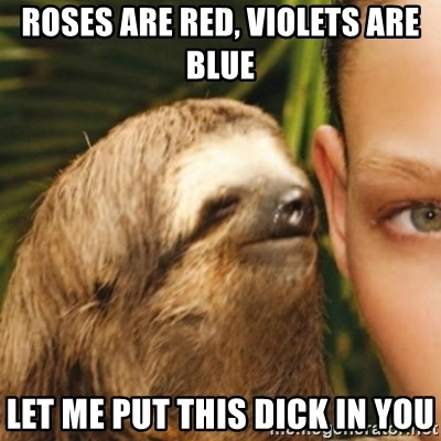 Whispering sloth - Roses are red, violEts are blue Let me put this dick in you