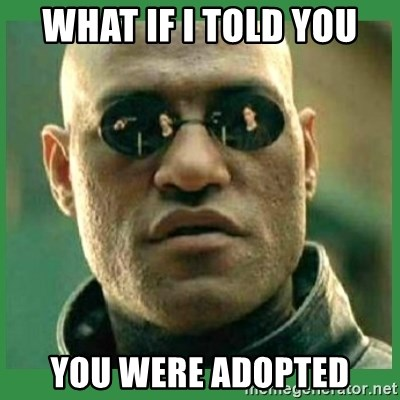 Matrix Morpheus - WHAT IF I TOLD YOU YOU WERE ADOPTED