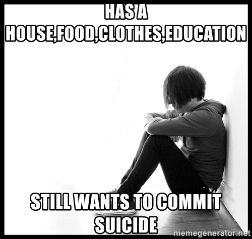 First World Problems - has a house,food,clothes,education still wants to commit suicide