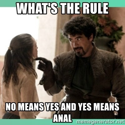 What do we say - What's the rule  No means yes and yes means anal