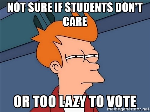 Futurama Fry - Not sure if STUDENTS don't care or too lAZY TO VOTE