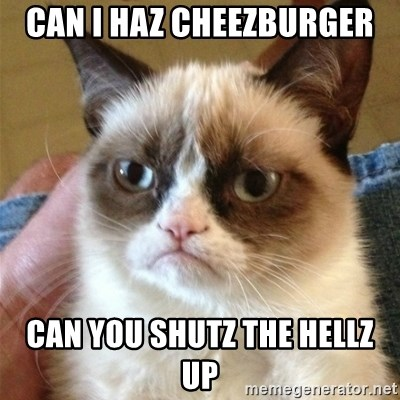 Grumpy Cat  - Can I haz cheezburger can you shutz the hellz up