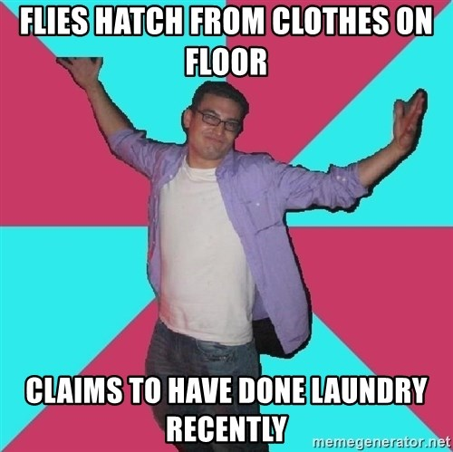 Douchebag Roommate - flies hatch from clothes on floor claims to have done laundry recently