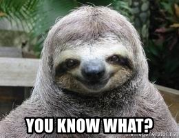 Sexual Sloth -  YOU KNOW WHAT?