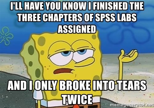 I'll have you know Spongebob - I'll have you know I finished the three chapters of spss labs assigned and i only broke into tears twice