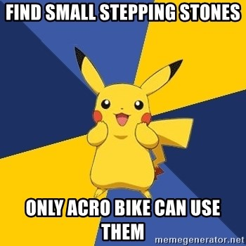 Pokemon Logic  - find small stepping stones only acro bike can use them