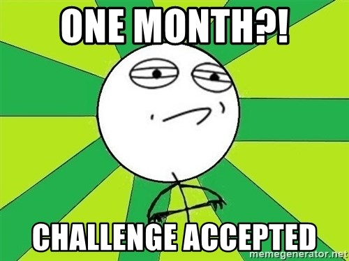 Challenge Accepted 2 - One month?!  Challenge accepted