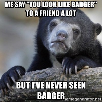 """Confession Bear - me say """"you look like badger"""" to a friend a lot but I've never seen badger"""