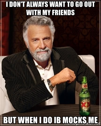 The Most Interesting Man In The World - I DON'T ALWAYS WANT TO GO OUT WITH MY FRIENDS BUT WHEN I DO IB MOCKS ME