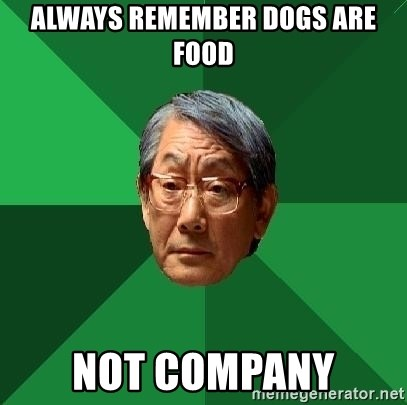 High Expectations Asian Father - Always remember dogs are food not company