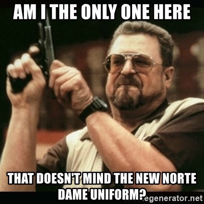 am i the only one around here - Am I the only one here That doesn't minD the new Norte dame uniform?