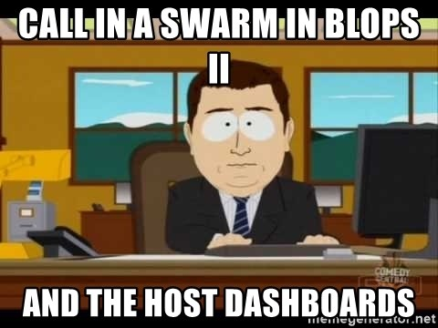 south park aand it's gone - Call in a swarm in Blops ii and the host dashboards