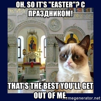 "Grumpy Orthodox Cat - oh, so it's ""easter""? с праздником! That's the best you'll get out of me."