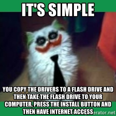 It's simple, we kill the Batman. - It's simple you copy the drivers to a flash drive and then take the flash drive to Your computer, press the install button and then have internet access