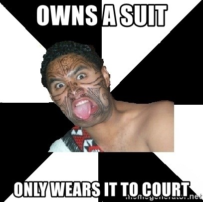 Maori Guy - owns a suit only wears it to court
