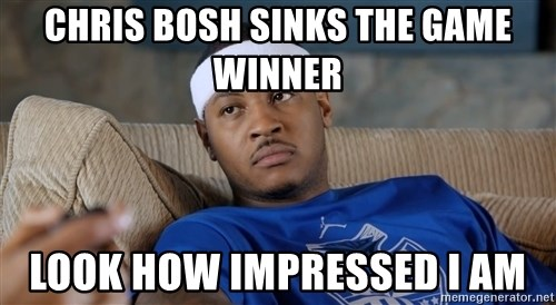 Carmelo Anthony surprised - Chris bosh sinks the game winner Look how impressed i am